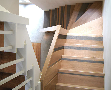 Concrete and wood stair